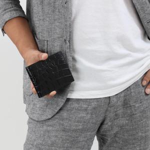 エッティンガー 二つ折り財布【札入れ】 財布 メンズ クロコ エボニーブラック 030J CC EBONY ETTINGER