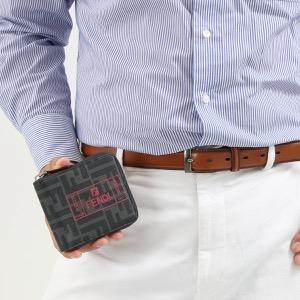 フェンディ 二つ折り財布 財布 メンズ フェンディ ラベル ズッカ ブラック&ロッソレッド&パラディオ 7M0258 A7SB F0P0N 2019年秋冬新作 FENDI