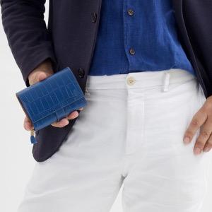 フェリージ 二つ折り財布 財布 メンズ レディース クロコ型押し ブリュエットブルー 3500 SA 0021 FELISI
