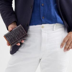 フェリージ 二つ折り財布 財布 メンズ レディース クロコ型押し グリージョスクーログレー 3500 SA 0028 FELISI