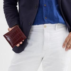 フェリージ 二つ折り財布 財布 メンズ クロコ型押し カードケースセット ボルドー 452 SA 0026 FELISI