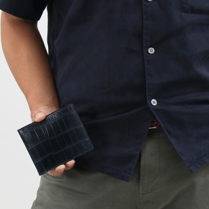 フェリージ 二つ折り財布 財布 メンズ クロコ型押し ネイビーブルー 952 SA 0005 2019年秋冬新作 FELISI