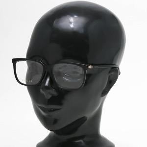グッチ 伊達メガネ メンズ スクエア WEB ブラック&トランスペアレントクリア GG0295OA 001 ASI GUCCI