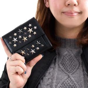 ジミーチュウ 二つ折り財布 財布 メンズ レディース フリーダ ブラック マルチ メタル スター スタッズ メタリックミックス METALLIC MIX ブラック FRIDA LTR BLACK JIMMY CHOO