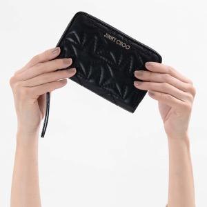 ジミーチュウ 二つ折り財布 財布 レディース ハレー スター マトラッセ ブラック&シルバー HALLEY TMN 191 BLACK SILVER JIMMY CHOO