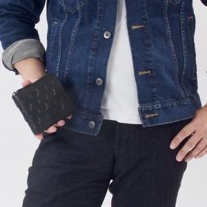 ジミーチュウ 二つ折り財布 財布 メンズ レディース ローレンス エンボスド スターズ ネイビー LAWRENCE EMG 181 NAVY JIMMY CHOO