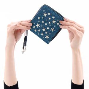 ジミーチュウ 二つ折り財布 財布 レディース テッサ クリスタル スター スタッズ ネイビー&シルバー&ライトブルー TESSA ESY 191 NAVY SILVER LIGHT BL JIMMY CHOO