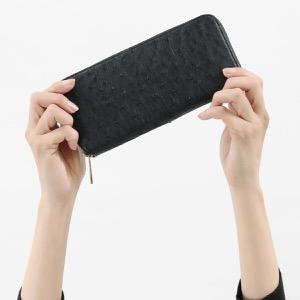 本革 長財布 財布 レディース オーストリッチ ブラック CROS002 BLK Leather