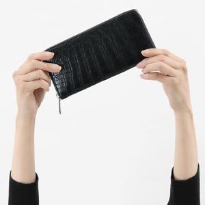 本革 長財布 財布 メンズ レディース クロコ ブラック CRS002D BLK Leather