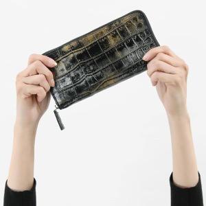 本革 長財布 財布 メンズ レディース クロコ アンティークゴールド CRS002P ANTGD Leather
