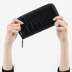 本革 長財布 財布 メンズ レディース クロコ ブラック CRS002PBP BLK Leather