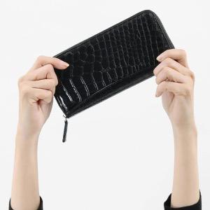 本革 長財布 財布 メンズ レディース クロコ パープル&ブラック CRS002P PPBK Leather