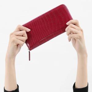 本革 長財布 財布 メンズ レディース クロコ ルビーレッド CRS002P RUBY Leather