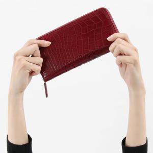 本革 長財布 財布 メンズ レディース クロコ ワインレッド CRS002P WIN Leather