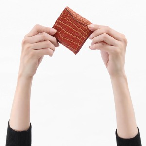 本革 コインケース【小銭入れ】 財布 レディース クロコ バーガンディレッド&ゴールド CRS1012 BUR Leather