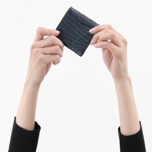 本革 コインケース【小銭入れ】 財布 レディース クロコ ネイビーブルー CRS1012 NVY Leather