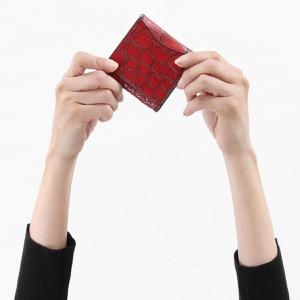 本革 コインケース【小銭入れ】 財布 レディース クロコ レッド&ブラック CRS1012 RDBK Leather