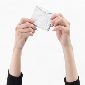 本革 コインケース【小銭入れ】 財布 レディース クロコ ホワイト CRS1012 WHT Leather