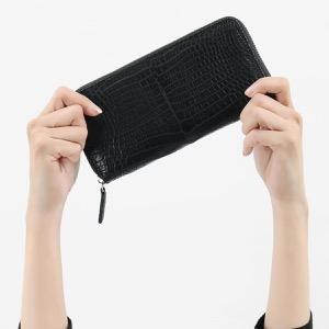 本革 長財布 財布 メンズ レディース クロコ ブラック CRS1833 BLK Leather
