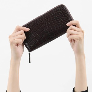本革 長財布 財布 メンズ レディース クロコ ダークブラウン CRS1833 DBR Leather