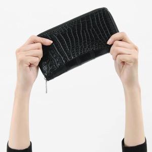 本革 長財布【札入れ】 財布 メンズ レディース クロコ ブラック CRS188M BLK Leather