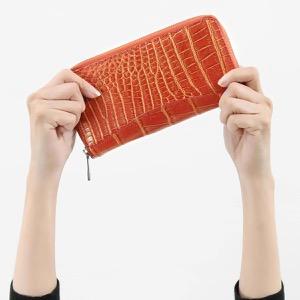 本革 長財布【札入れ】 財布 メンズ レディース クロコ バーガンディオレンジ&ゴールド CRS188M BURG Leather