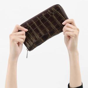 本革 長財布【札入れ】 財布 メンズ レディース クロコ ダークブラウン&ゴールド CRS188M DBG Leather