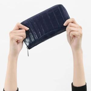 本革 長財布【札入れ】 財布 メンズ レディース クロコ ネイビーブルー CRS188M NVY Leather