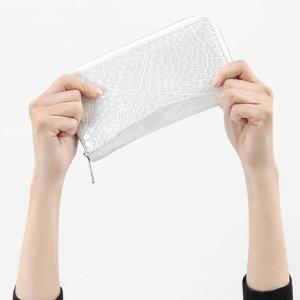 本革 長財布【札入れ】 財布 メンズ レディース クロコ パールホワイト CRS188M PWH Leather