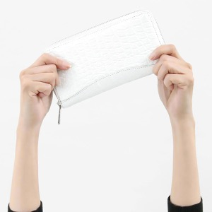 本革 長財布【札入れ】 財布 メンズ レディース クロコ ホワイト CRS188M WHT Leather