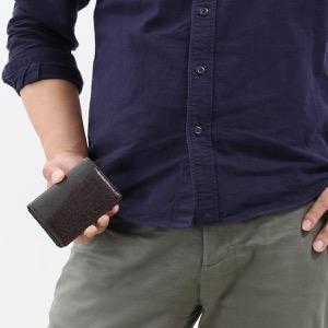 本革 カードケース/名刺入れ メンズ クロコ ダークブラウン CRS714 DBR Leather