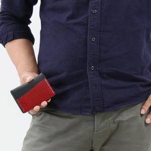 本革 カードケース/名刺入れ メンズ クロコ レッド&ブラック CRS714 RDBK Leather