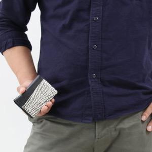 本革 カードケース/名刺入れ メンズ レディース クロコ ヴァニラホワイト CRS714 VAN Leather