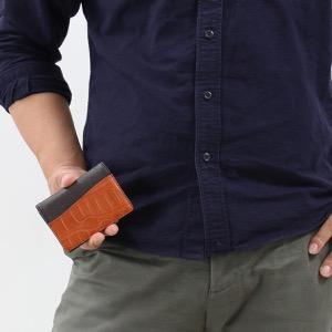 本革 カードケース/名刺入れ メンズ レディース クロコ イエローティブラウン CRS714 YELTE Leather