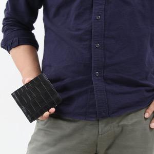 本革 二つ折り財布 財布 メンズ クロコ ブラック CRSK012MC BLK Leather