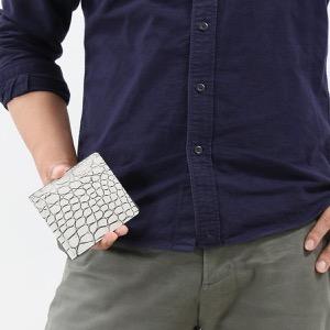 本革 二つ折り財布 財布 メンズ クロコ バニラホワイト CRSK012MC VAN Leather