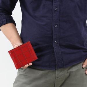 本革 二つ折り財布 財布 メンズ クロコ レッド&ブラック CRSM012JP RDBK Leather