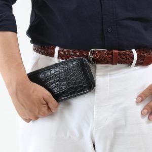 本革 長財布 財布 メンズ レディース クロコ ブラック DRS163 BLK Leather