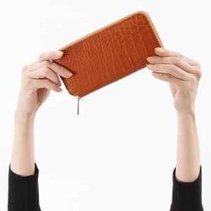 本革 長財布 財布 メンズ レディース クロコ ライトブラウン DRS163 YET Leather