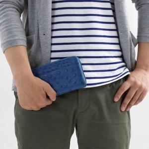 本革 長財布 財布 メンズ レディース オーストリッチ OSTRICH クレマチスブルー OKN1824H CMS Leather