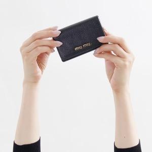 ミュウミュウ カードケース レディース マドラス カラー ブラック&ローザピンク 5MC011 2BJI F0UMV MIU MIU