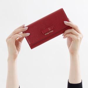 ミュウミュウ 長財布 財布 レディース マドラス フィオーコ リボン フォーコレッド 5MH109 3R7 F0JU2 MIU MIU
