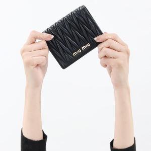 ミュウミュウ 二つ折り財布 財布 レディース マトラッセ ブラック 5MV204 N88 F0002 2019年春夏新作 MIU MIU