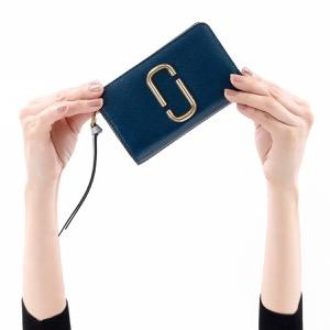マークジェイコブス 二つ折り財布 財布 レディース スナップショット ダブルJロゴ ブルーシアマルチ M0014281 455 MARC JACOBS