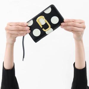 マークジェイコブス 二つ折り財布 財布 レディース スナップショット ドット ブラックマルチ M0014836 002 2019年春夏新作 MARC JACOBS