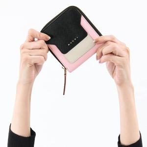 マルニ 二つ折り財布 財布 レディース サフィアーノ スクエア ブラック&ベージュ&ピンク PFMOQ09U11 LV520 Z241M 2019年春夏新作 MARNI