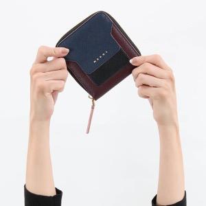 マルニ 二つ折り財布 財布 レディース サフィアーノ スクエア ネイビーブルー&ブラック&バーガンディレッド PFMOQ09U11 LV520 Z243C 2019年秋冬新作 MARNI
