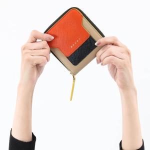マルニ 二つ折り財布 財布 レディース サフィアーノ スクエア オレンジ&ブラック&ベージュ PFMOQ09U11 LV520 Z248Y 2019年春夏新作 MARNI