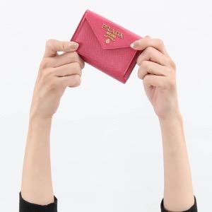 プラダ 三つ折り財布/ミニ財布 財布 レディース サフィアーノ メタル ペオニアピンク 1MH021 QWA F0505 PRADA