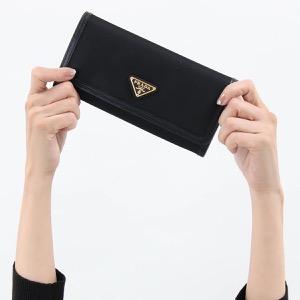 プラダ 長財布 財布 メンズ レディース テスート トライアングル 三角ロゴプレート ブラック 1MH132 2B15 F0002 PRADA